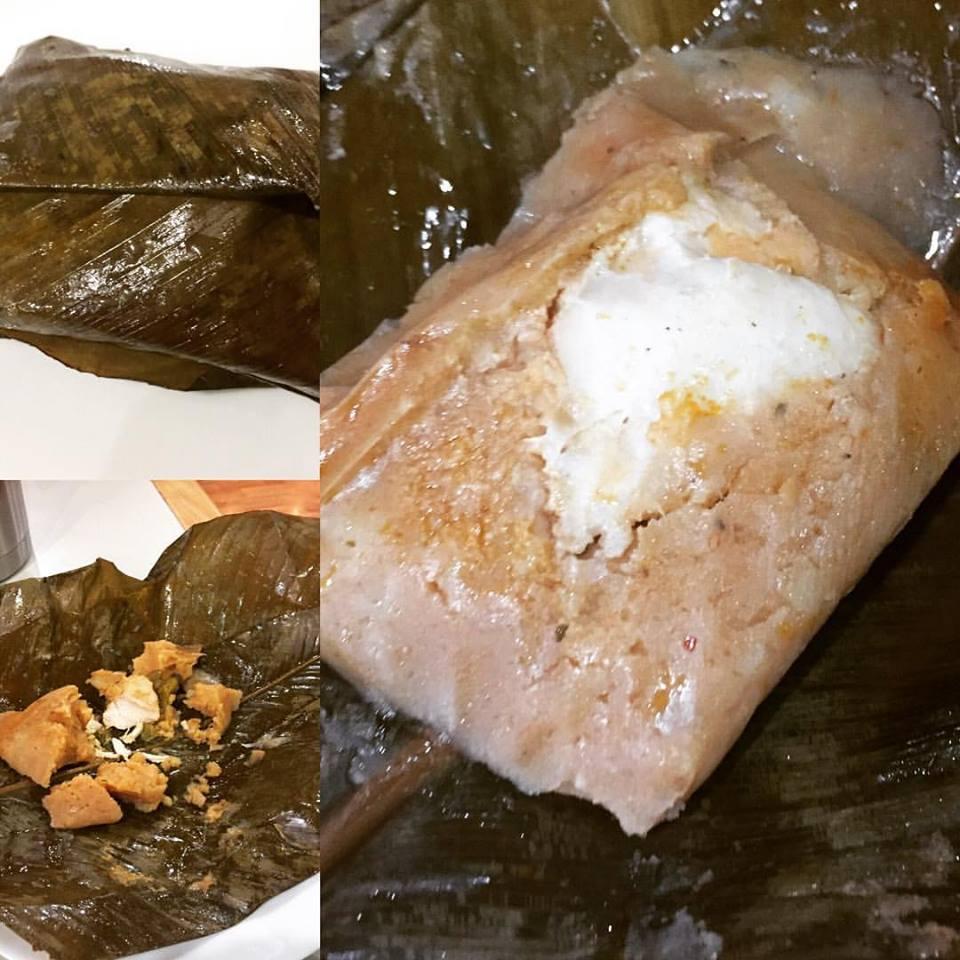 Paches - Purê de batatas, frango e muito tempero, inclusive chilli, cozido na folha da bananeira, no vapor.