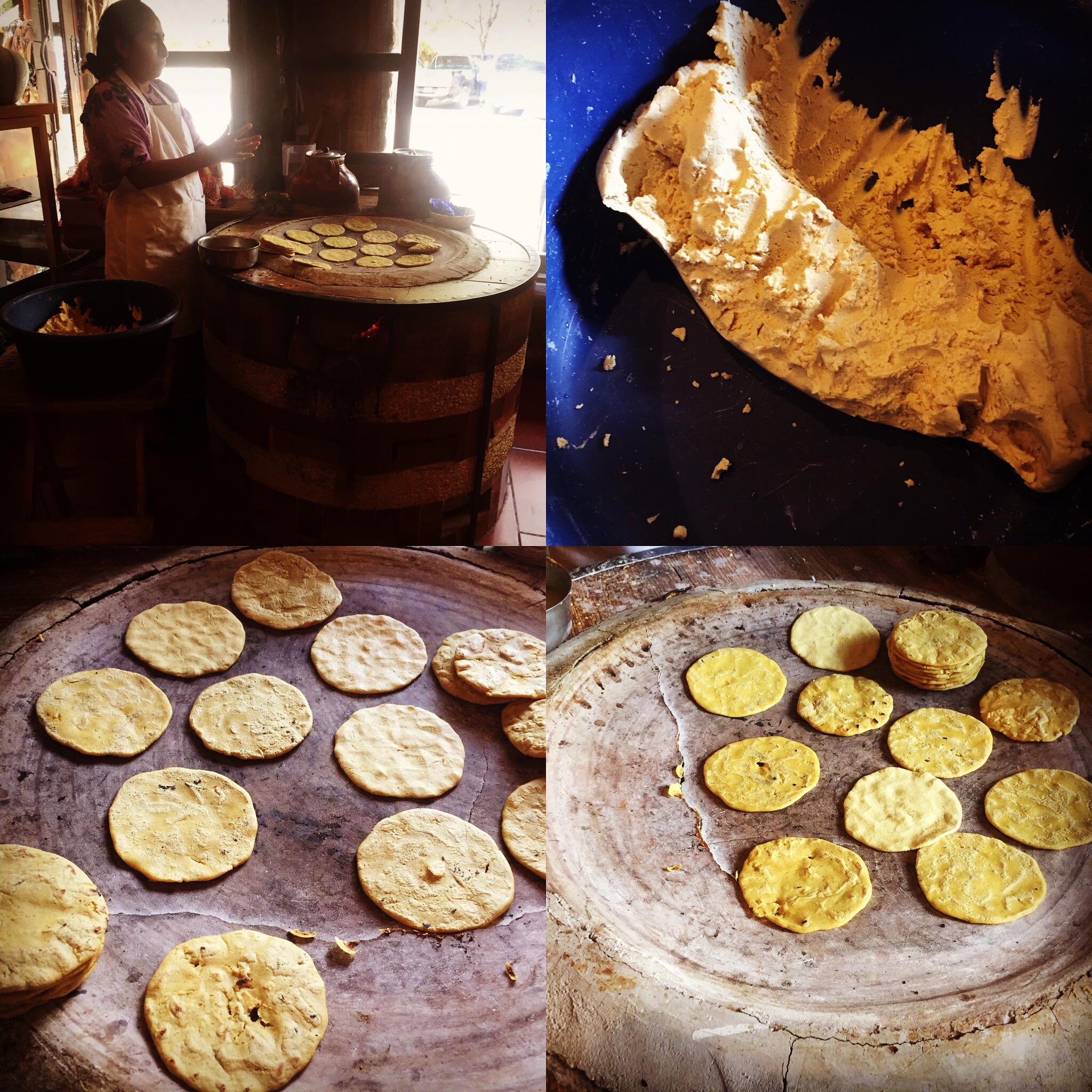 Elaboração de tortilla de milho branco.
