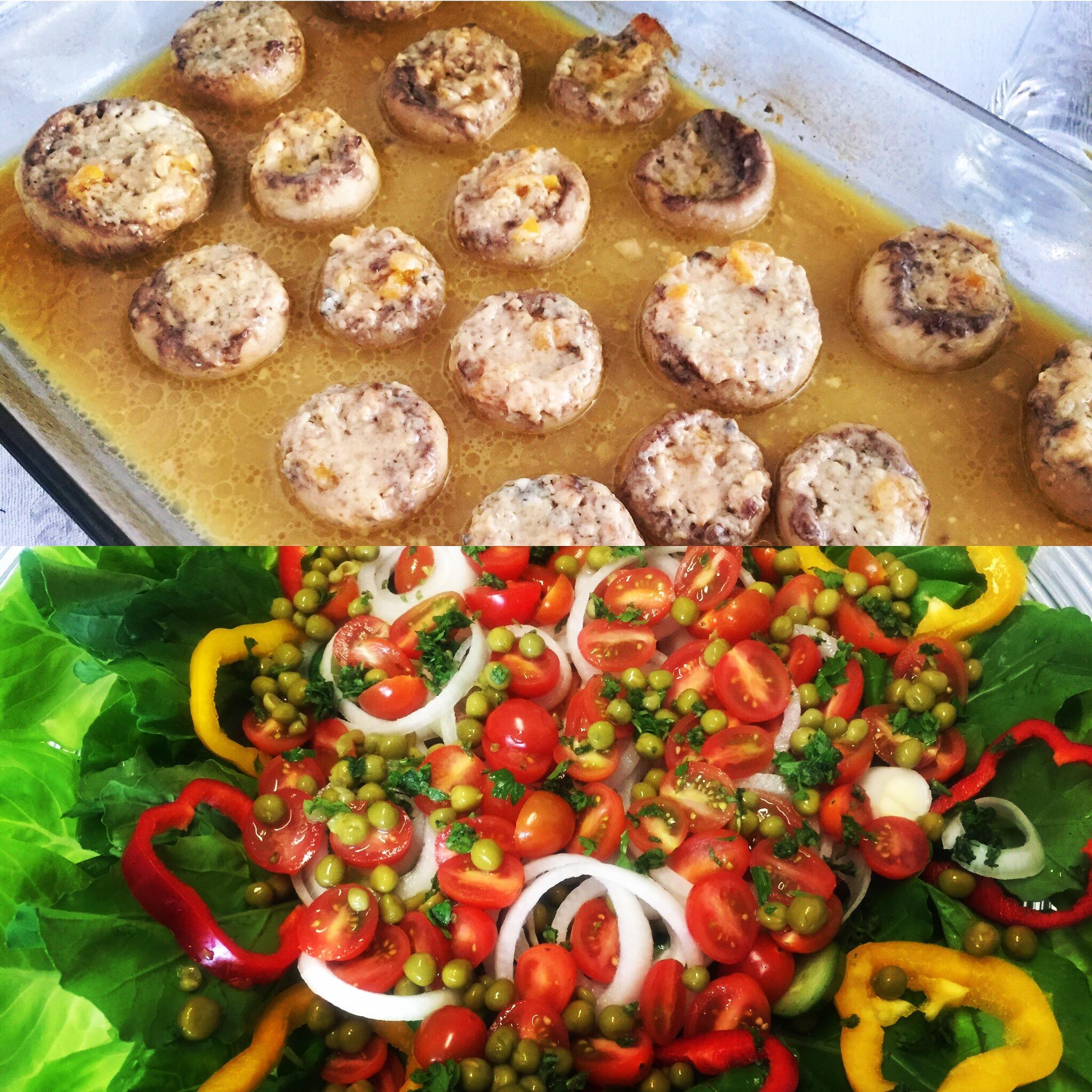 Salada e cogumelo ao forno
