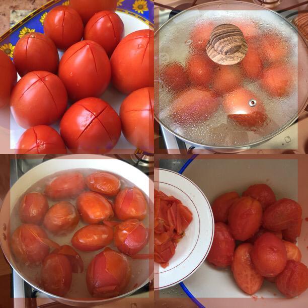 Etapas para retirada das peles dos tomates